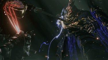 Un héros en armure active son «Gideon Coffin» pour affronter un redoutable ennemi.