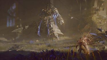 Un héros armé d'une épée se prépare à affronter un géant en armure au premier plan