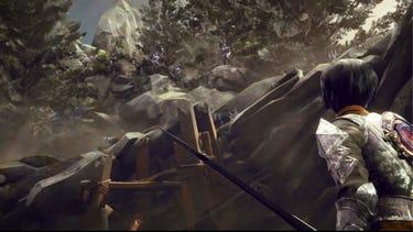 Cinématique. Des ennemis armés se tenant sur le flanc rocailleux d'une montagne regardent d'un air menaçant un héros équipé d'une lance en contrebas.