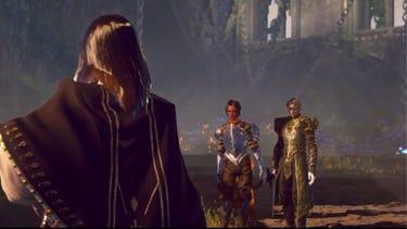 Cinématique. Deux héros armés font face à un personnage mystérieux vu de dos au premier plan.