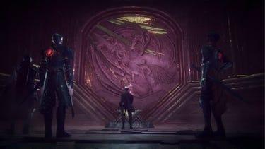 Cinématique. Des héros portant des «Gideon Coffins» brillants trouvent une gravure d'un héros en armure combattant un dragon.