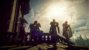 Quatre héros vus de dos, leurs «Gideon Coffins» émettant une lueur rouge sur le dos tandis que leurs regards sont tournés vers le ciel.