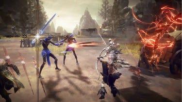 Un combat multijoueur intense dans lequel un héros tire une flèche spectrale sur un ennemi.