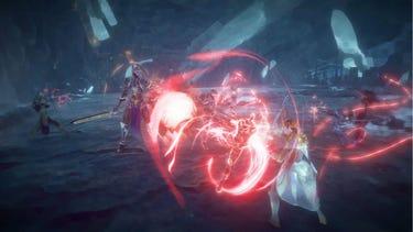 Un combat multijoueur dans lequel un héros armé d'un bâton se prépare à lancer une salve d'énergie dévastatrice.