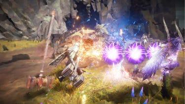 Un combat multijoueur dans lequel un héros équipé d'un bouclier protège un allié à l'aide d'une vague d'énergie violette.