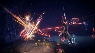 Un combat multijoueur dans lequel un héros armé d'une épée commence son attaque, le fil rouge du «Gideon Coffin» brillant.