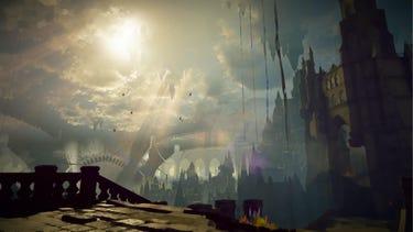 Environnement. Les rayons du soleil percent les nuages pour éclairer le chemin en ruines menant à la tour de Babylone.