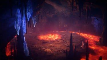 Environnement. La lueur rouge de la lave illumine une grotte volcanique souterraine.