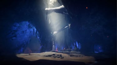 Environment. An enclosed, icy cave is lit through a crack in the ceiling, the sunlight pouring in.