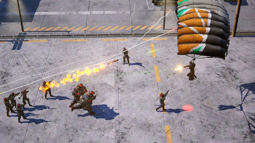 An agent firing at enemies  from a parachute