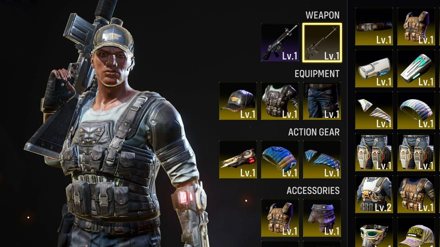 Agent customisation menu  showing gear, weapons and clothing