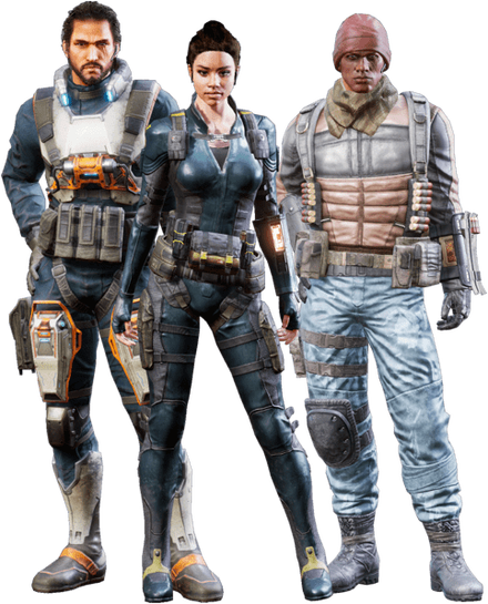 Three agents standing in  different forms of gear and clothing