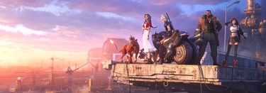 """""""Red XIII, Aerith, Cloud, Barret,  and Tifa look towards the horizon"""""""