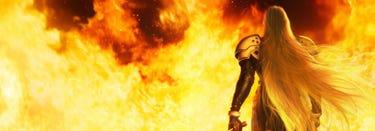 Sephiroth walks into the flames