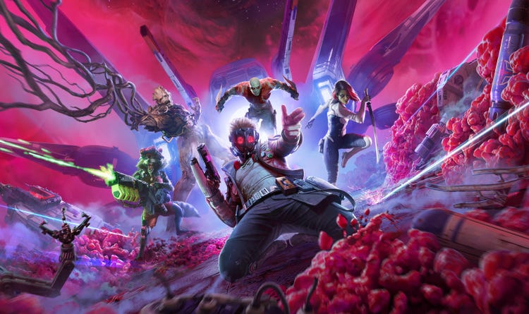 Star-Lord sliding forward on his knees, an Element Blaster in hand. Rocket, Groot, Drax and Gamora are just behind him, ready for action and leaping forward.