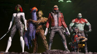 The Guardians of the Galaxy with their weapons in hands, ready for action. Groot is holding a space llama in his arms.