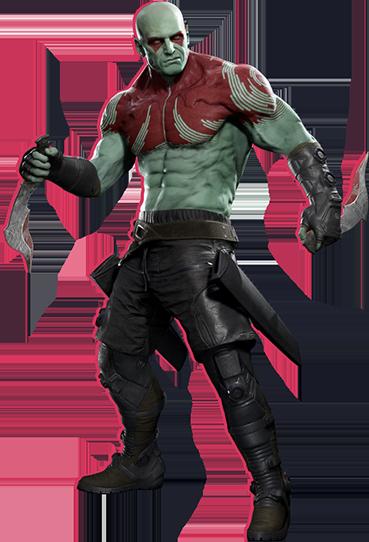 Drax holding his daggers, looking menacing and resolute.