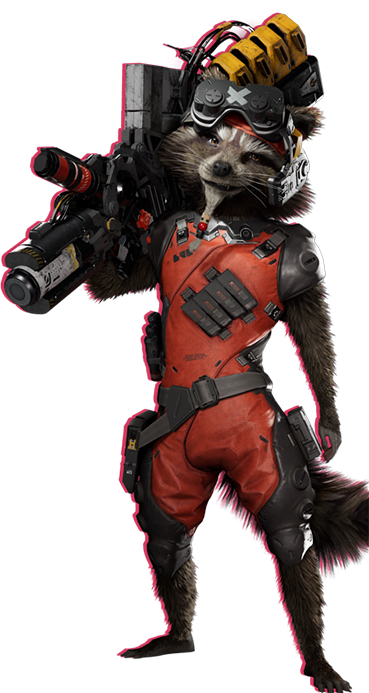 Rocket Raccoon with a smirk on his face, holding a large weapon and using his shoulder to support it.