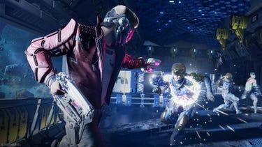 Star-Lord strzela do biegnącego w jego kierunku żołnierza Korpusu Nova, a Drax i Gamora walczą z pozostałymi żołnierzami w tle.