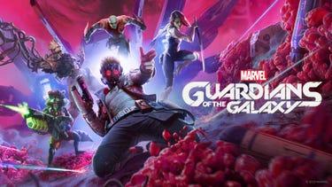 Star-Lord rutscht auf den Knien nach vorne, einen Elementar-Blaster in der Hand. Rocket, Groot, Drax und Gamora sind direkt hinter ihm und springen einsatzbereit nach vorne.