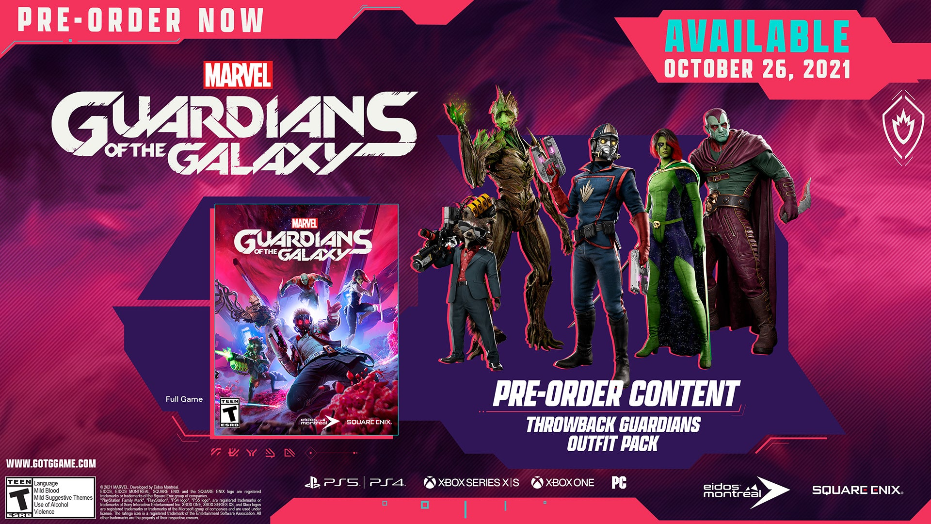 The outfits for the Guardians included in the Throwback Guardians Outfit Pack. They are faithful interpretations of some of their most iconic looks from the comics.