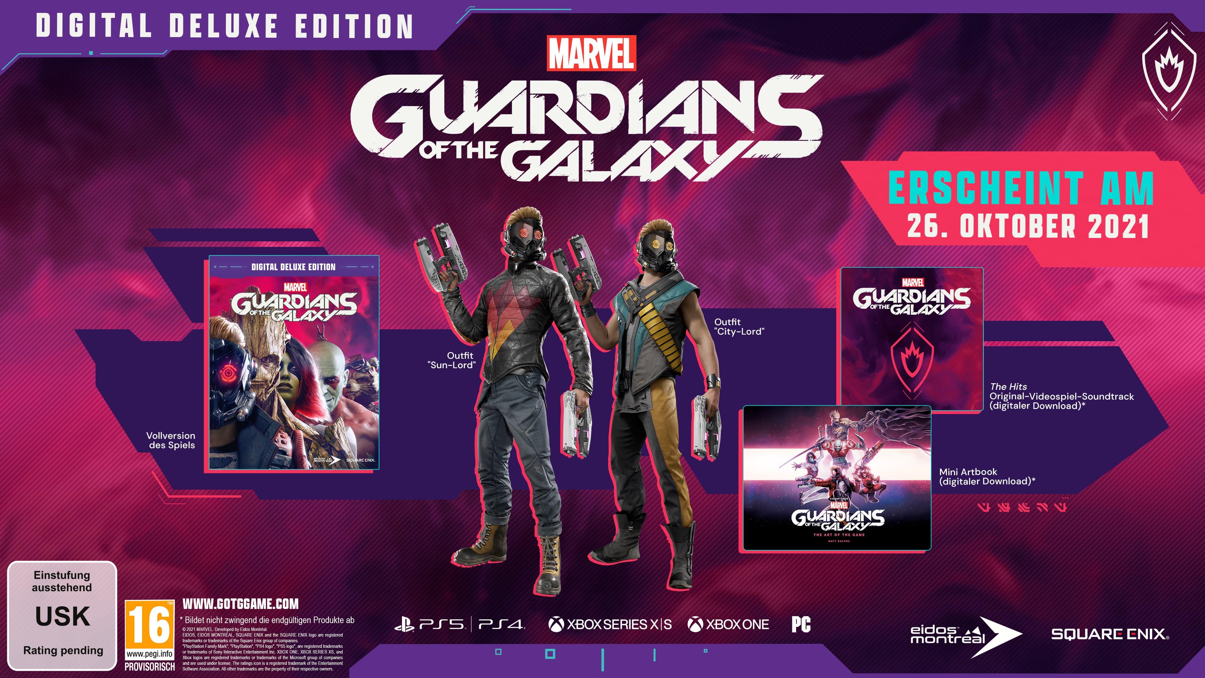 Inhalt der Digital Deluxe Edition von Marvel's Guardians of the Galaxy