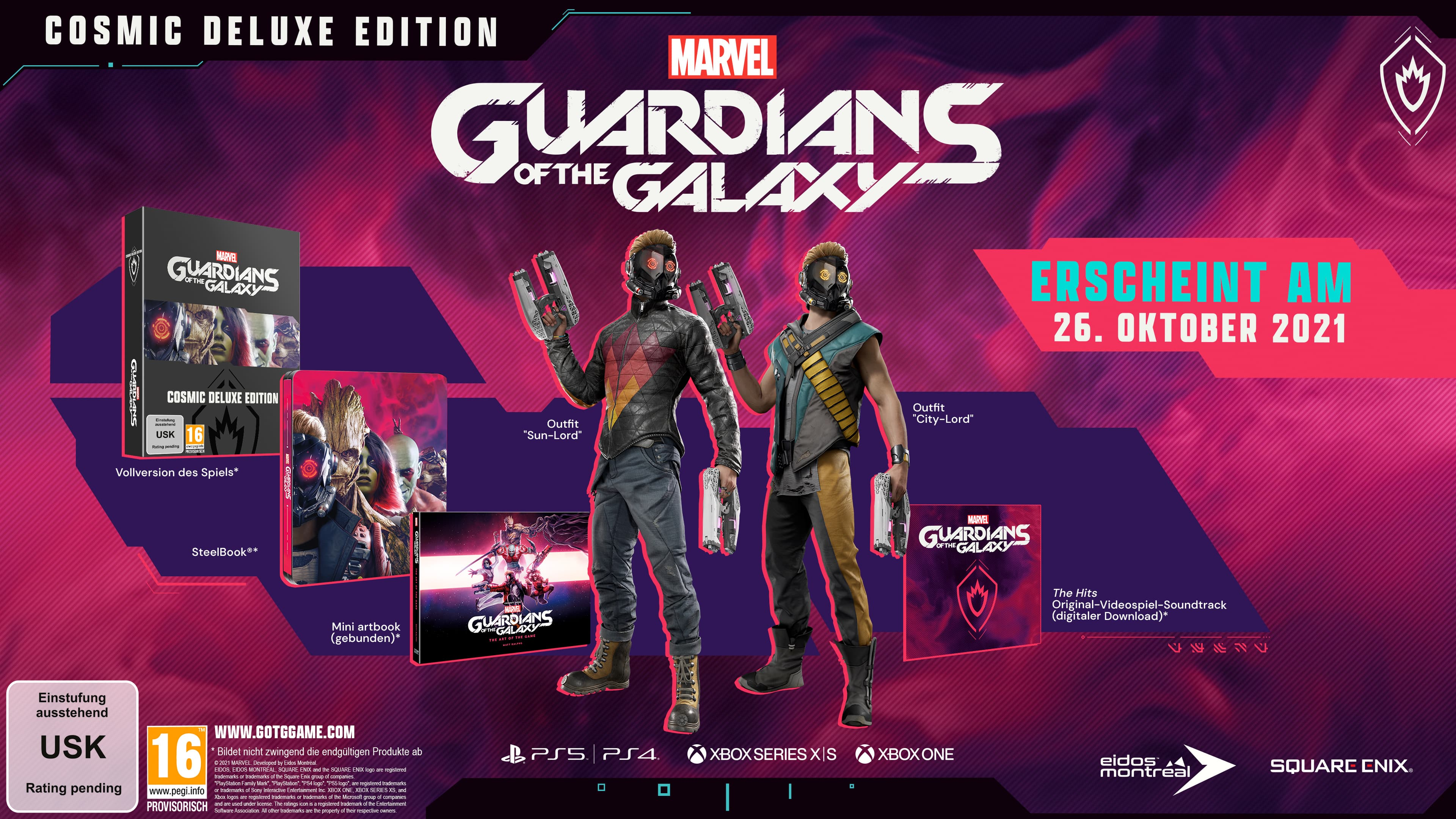 Inhalt der Cosmic Deluxe Edition von Marvel's Guardians of the Galaxy