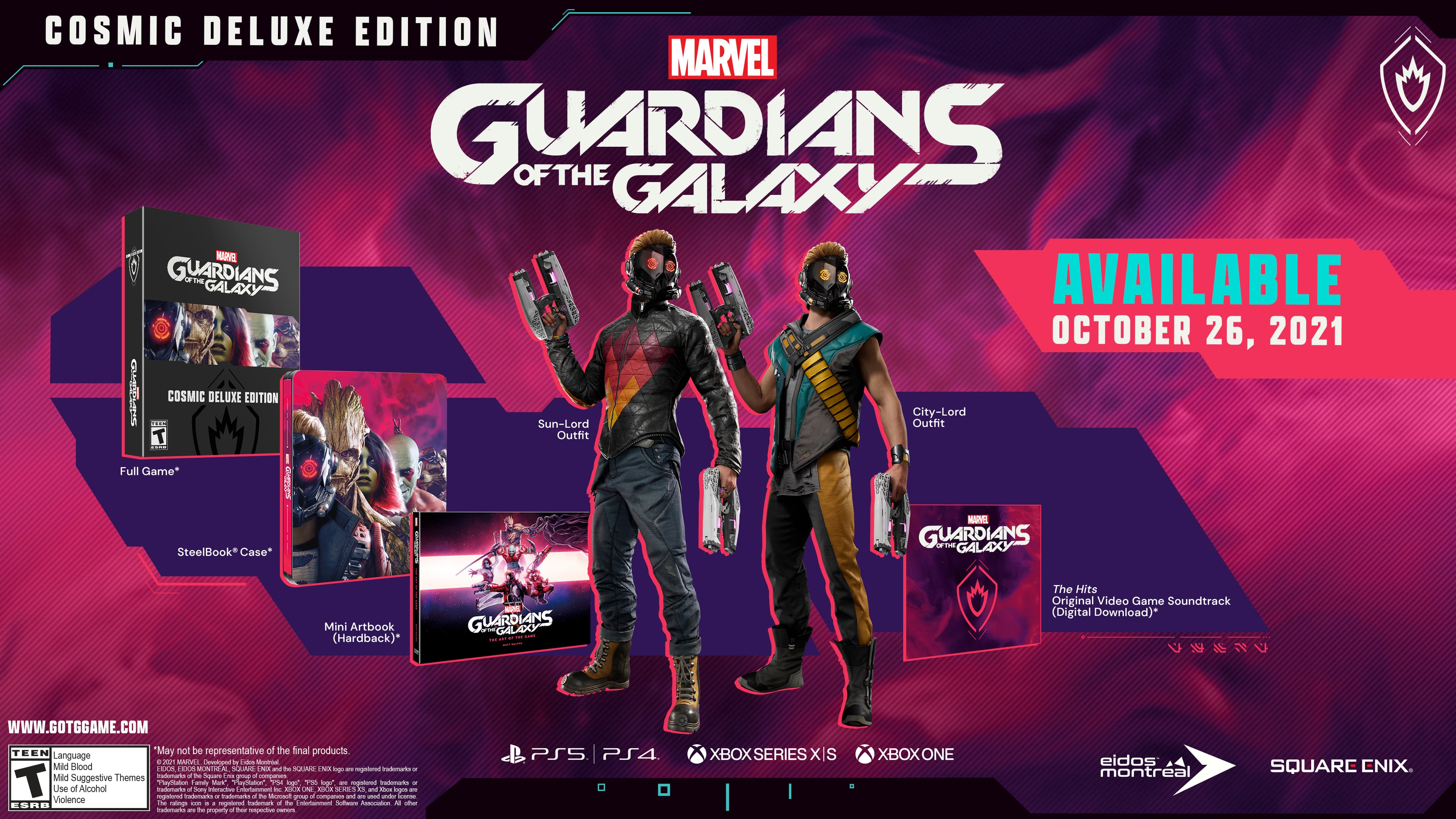 Contents of the Cosmic Deluxe edition of Marvel's Guardians of the Galaxy