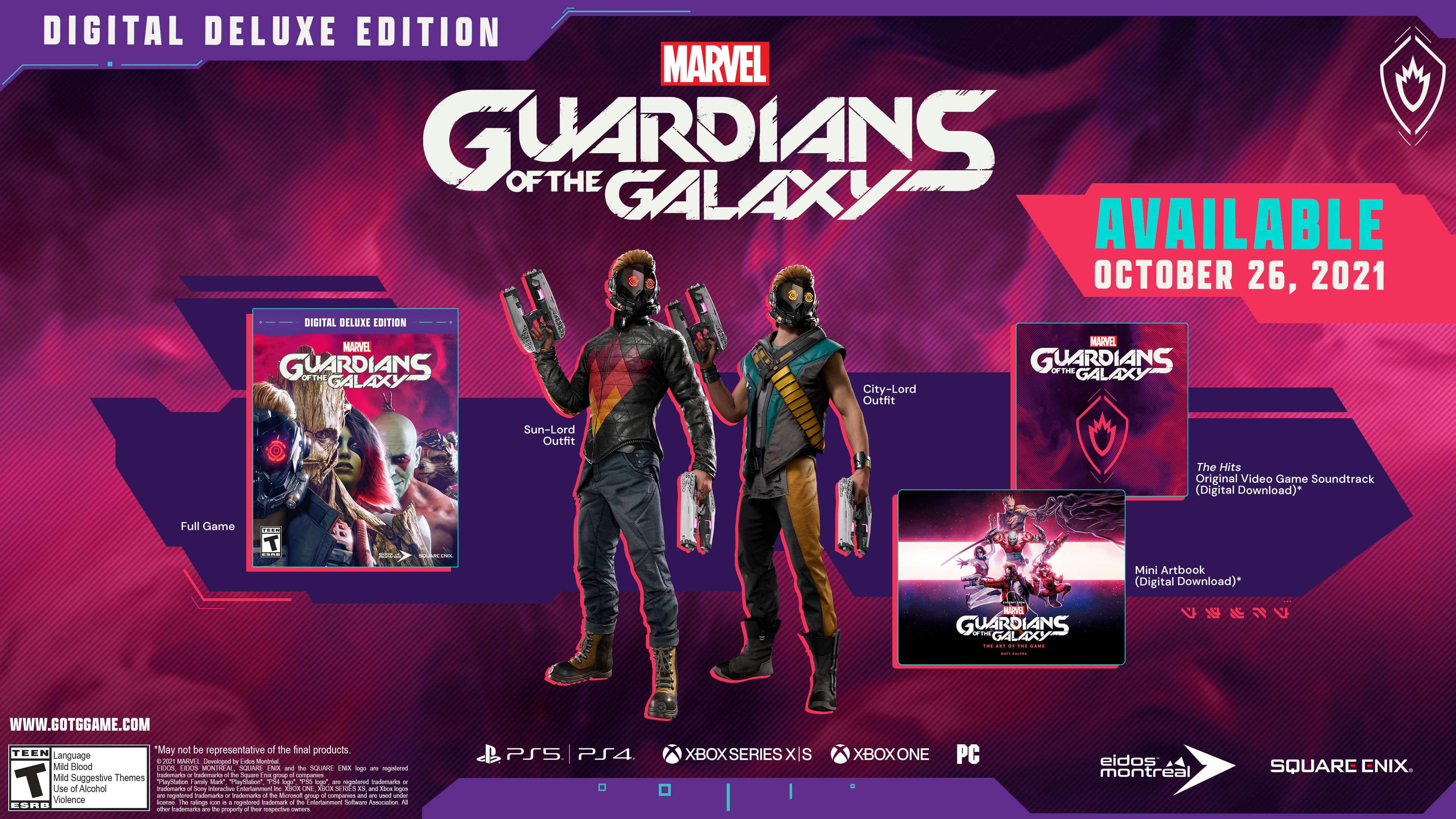 Contents of the Digital Deluxe edition of Marvel's Guardians of the Galaxy