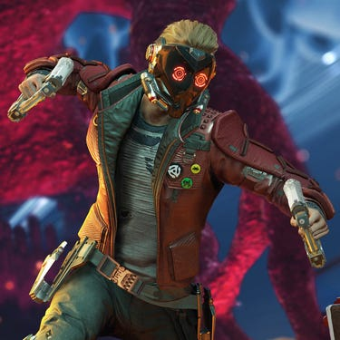 Star-Lord in mid-air with his jetboots activated, about to deliver a punch to an enemy seen from the back.