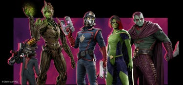 The Guardians wearing their Throwback Guardians Outfits