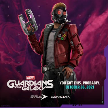 Star-Lord with his helmet on, an Element Blaster in hand.