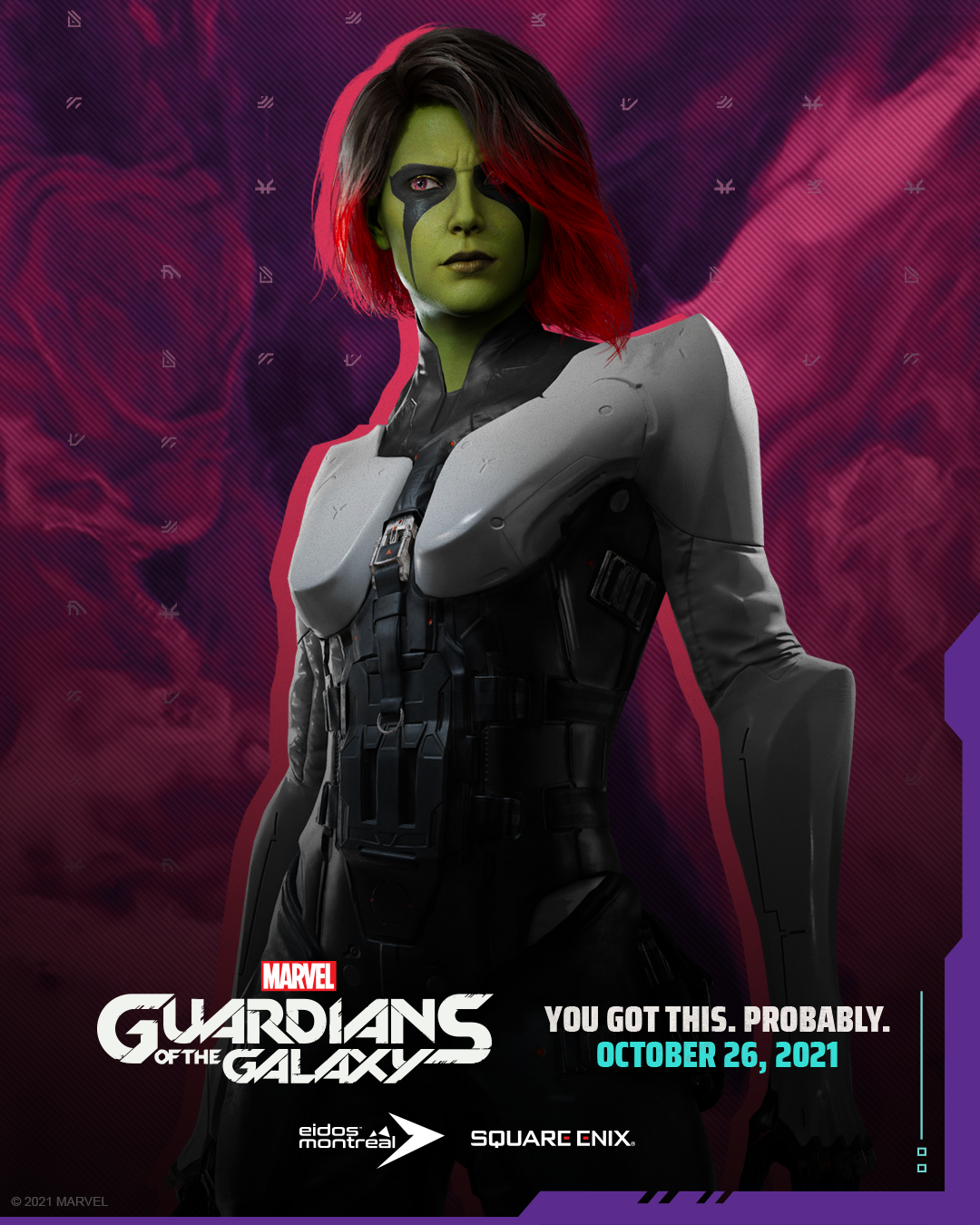 Gamora frowning slightly, looking determined and calm.