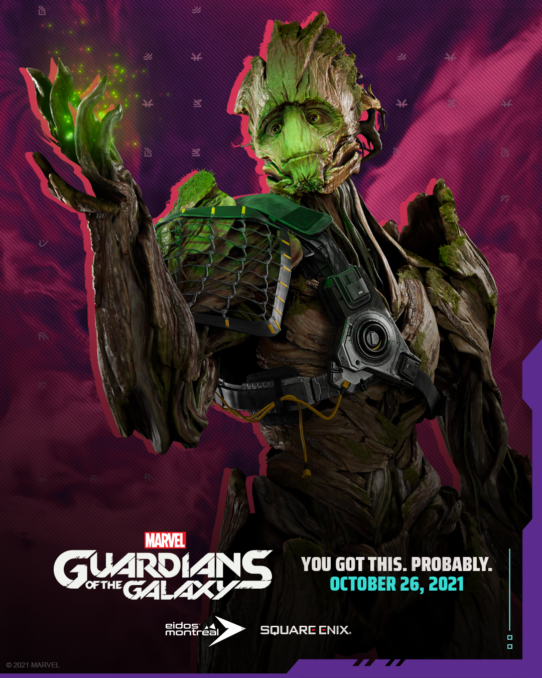 Groot with green fireflies around his hand, illuminating the kind expression on his face.