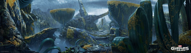 A wide shot of Seknarf Nine, homeplanet of Lady Hellbender. Rain is pouring all over the desolated area.