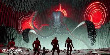 Ein Tentakelartiges Monster vor rotem Hintergrund. Die Guardians stehen in Kampfposition davor. Es sind die Rücken zu sehen.