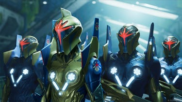 A group of Nova Corps soldiers standing next to each other, with their helmets on.