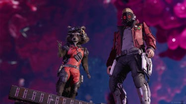 Star-Lord and Rocket stand side-by-side in the Quarantine Zone. Rocket points at something off-screen.