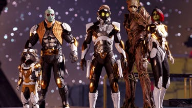The Guardians of the Galaxy wearing white and gold armor.