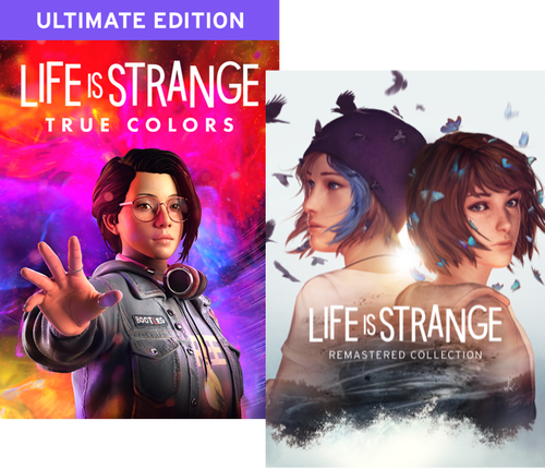 Packshots of the Life is Strange: True Colors Ultimate Edition, and the Life is Strange: Remastered Collection.