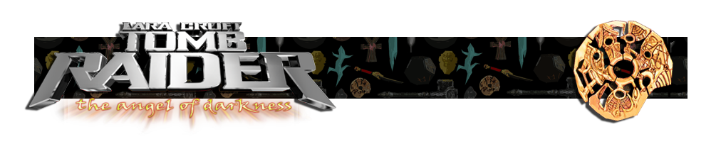 A banner with a collage of artifacts from Tomb Raider games in the background. The Tomb Raider VI logo is on the left and on the right is a render of the Sanglyph artifact.