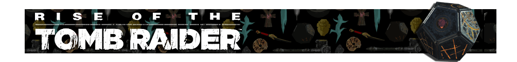 A banner with a collage of artifacts from Tomb Raider games in the background. The Rise of the Tomb Raider logo is on the left and on the right is a render of the Atlas artifact.