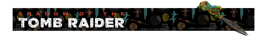 A banner with a collage of artifacts from Tomb Raider games in the background. The Shadow of the Tomb Raider logo is on the left and on the right is a render of the Key of Chak Chel artifact.