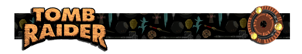 A banner with a collage of artifacts from Tomb Raider games in the background. The Tomb Raider logo is on the left and on the right is a render of the Scion artifact.