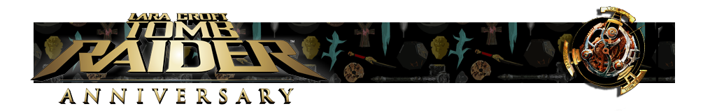A banner with a collage of artifacts from Tomb Raider games in the background. The Tomb Raider Anniversary logo is on the left and on the right is a render of the Scion artifact.
