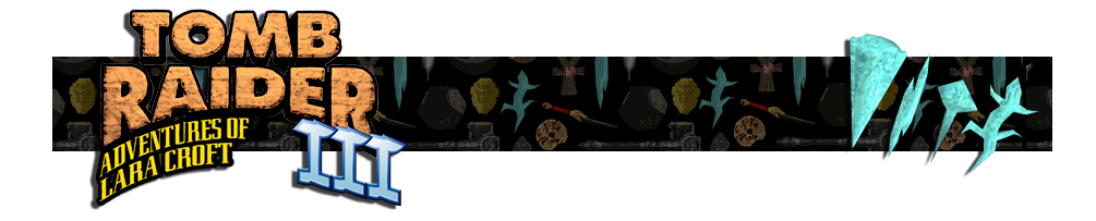 A banner with a collage of artifacts from Tomb Raider games in the background. The Tomb Raider III logo is on the left and on the right is a render of the Meteorite artifacts.