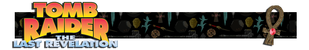 A banner with a collage of artifacts from Tomb Raider games in the background. The Tomb Raider IV logo is on the left and on the right is a render of the Ankh artifact.