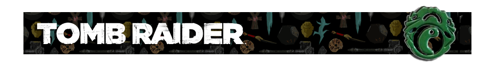 A banner with a collage of artifacts from Tomb Raider games in the background. The Tomb Raider logo is on the left and on the right is a render of Lara's Jade Necklace pendant.