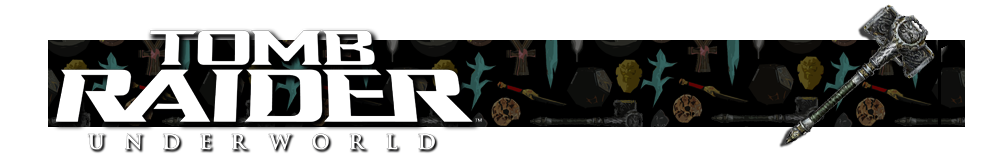A banner with a collage of artifacts from Tomb Raider games in the background. The Tomb Raider Underworld logo is on the left and on the right is a render of the Thor's Hammer artifact.