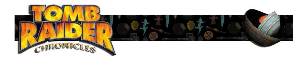 A banner with a collage of artifacts from Tomb Raider games in the background. The Tomb Raider V logo is on the left and on the right is a render of the Philosopher's Stone artifact.